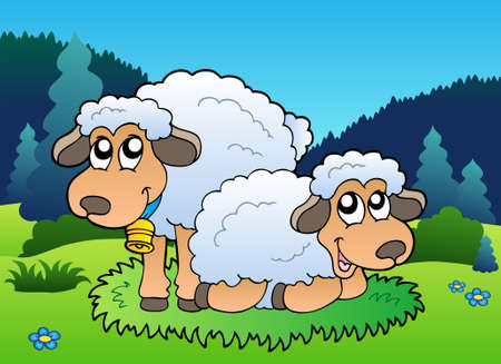 Two sheep on meadow Vector