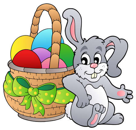 eggs in basket: Basket with Easter eggs and bunny