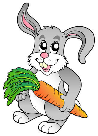 Cute bunny holding carrot Stock Vector - 8799936