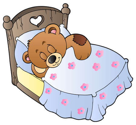 asleep: Cute sleeping teddy bear Illustration