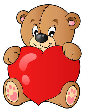 teddy bear love: Cute teddy bear holding heart