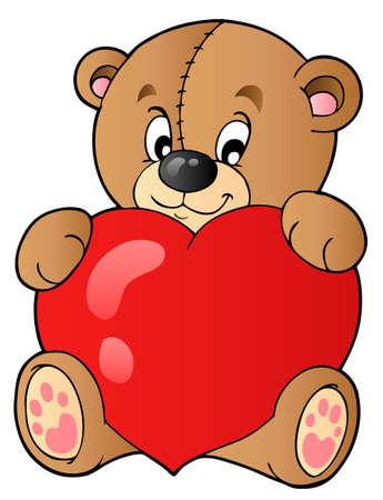 teddy bear: Ours en peluche cute tenant coeur Illustration