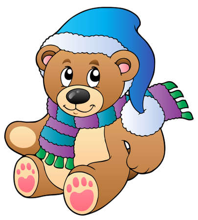 Cute teddy bear in winter clothes Vector