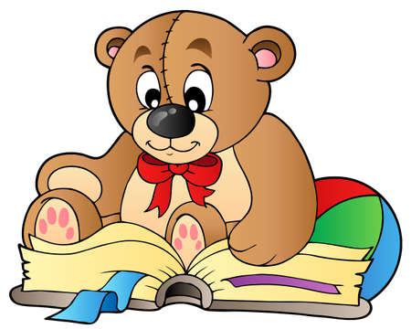 Cute teddy bear reading book Vector