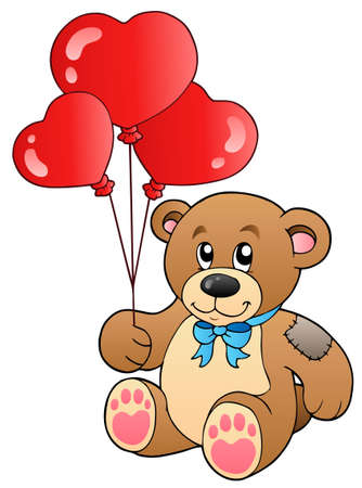 heart balloon: Cute teddy bear with balloons Illustration