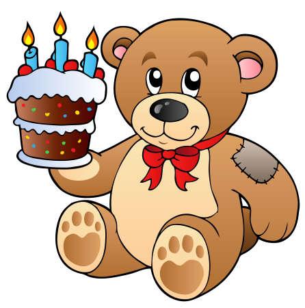 Lindo oso de peluche con pastel Ilustración de vector