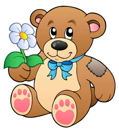 Cute teddy bear with flower Vector