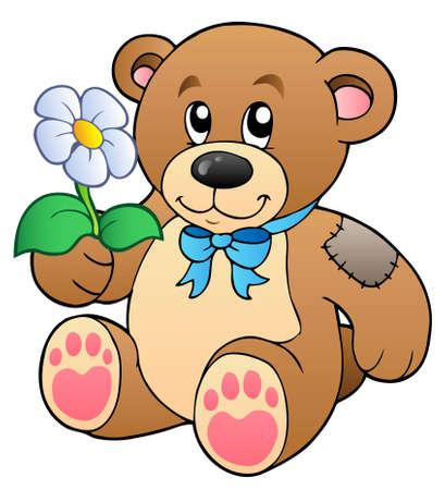 cuddle: Cute teddy bear with flower