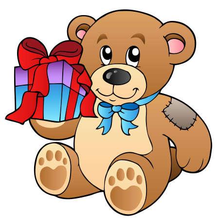 cuddle: Cute teddy bear with gift Illustration