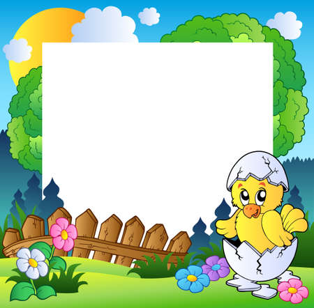 cartoon frame: Easter frame with cute chicken Illustration