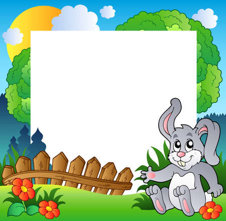 cute rabbit: Easter frame with happy bunny