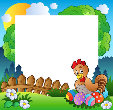 cartoon egg: Easter frame with hen and eggs