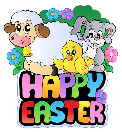 Happy Easter sign with animals Vector