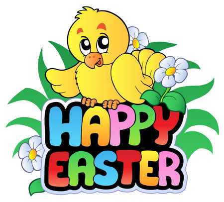 Happy Easter sign with chicken Stock Vector - 8799938