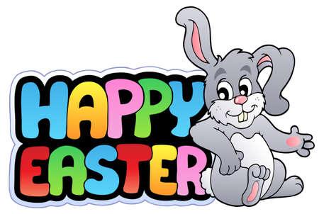 conejo caricatura: Signo de Pascua feliz con feliz bunny