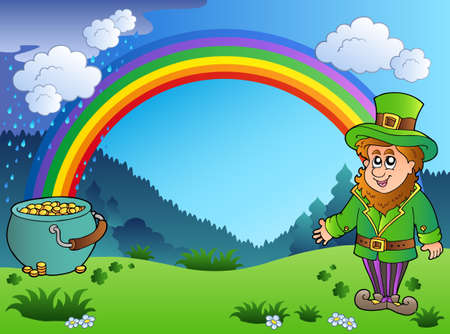 Meadow with rainbow and leprechaun Vector