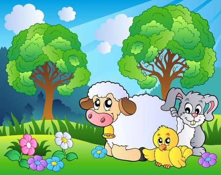 pollo caricatura: Prado con animales de primavera Vectores