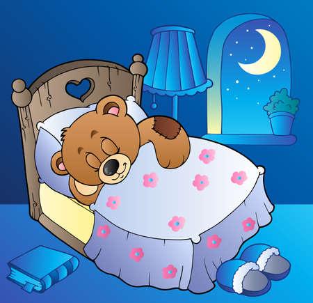 Sleeping teddy bear in bedroom Vector
