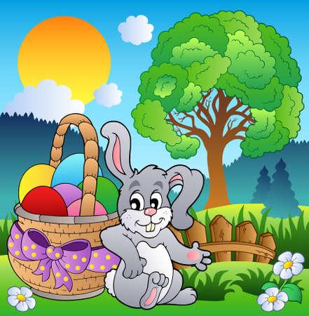 arbol de pascua: Prado de primavera con bunny y cesta