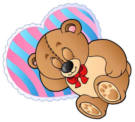 Teddy bear on heart shaped pillow Vector