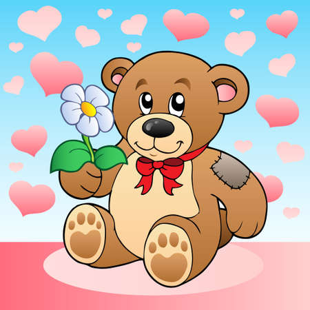 Teddy bear with flower and hearts Vector