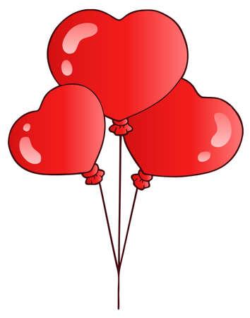 Valentine balloons on white background