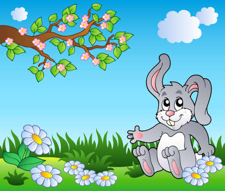 Bunny on meadow with daisies - vector illustration.