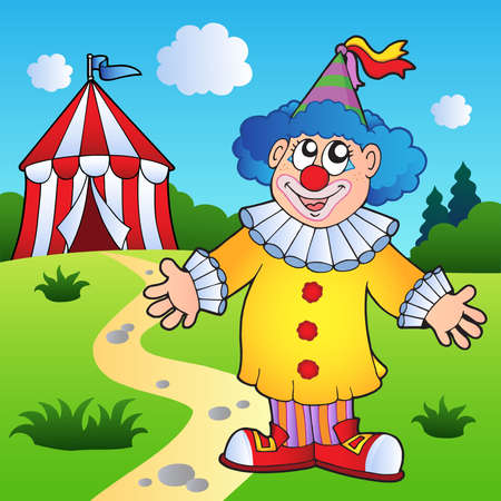 tent vector: Cartoon clown with circus tent - vector illustration. Illustration
