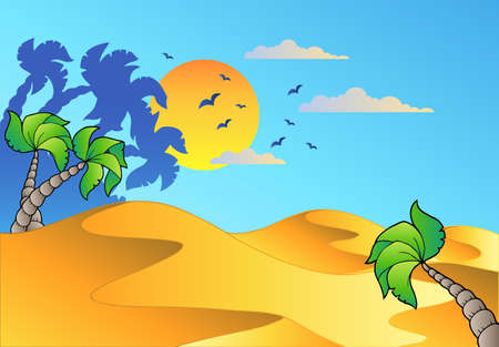 Cartoon desert landscape - vector illustration. Vector