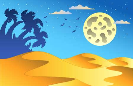 Cartoon night desert landscape - Vector illustration. Stock Vector - 8985745