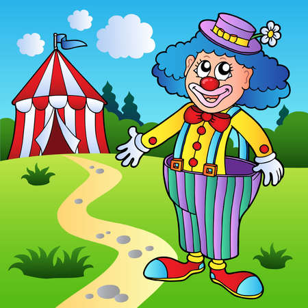 tent vector: Clown in big pants with circus tent - vector illustration. Illustration