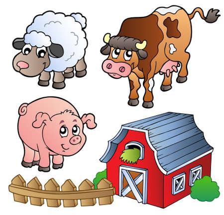 vaca caricatura: Colecci�n de varios animales de granja - ilustraci�n vectorial. Vectores
