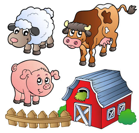 stable: Collection of various farm animals - vector illustration.