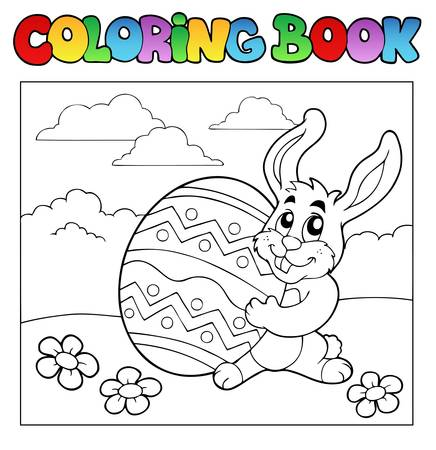 coloring easter egg: Coloring book with Easter theme 1 - vector illustration.