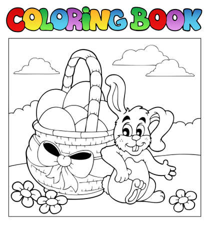 Coloring book with Easter theme 2 - vector illustration. Vector