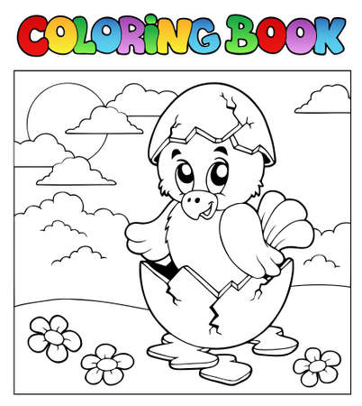broken egg: Coloring book with Easter theme 3 - vector illustration.