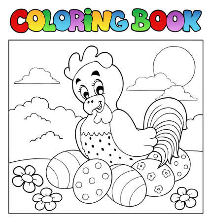 coloring: Coloring book with Easter theme 4 - vector illustration.