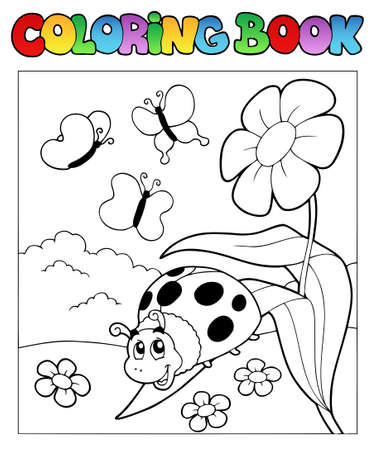 ladybug cartoon: Coloring book with ladybug 1 - vector illustration. Illustration