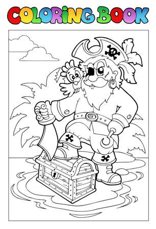 island clipart: Coloring book with pirate scene 1 - Vector illustration.