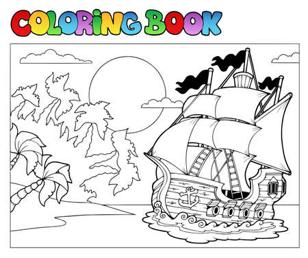 historical ship: Coloring book with pirate scene 2 - Vector illustration.