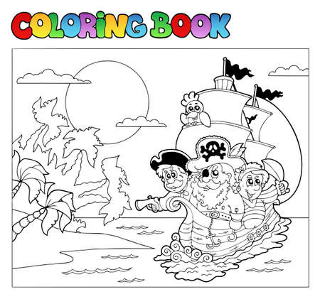 pirate boat: Coloring book with pirate scene 3 - vector illustration.