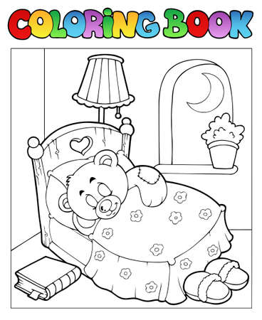 Coloring book with teddy bear 1 - vector illustration. Vector Illustration