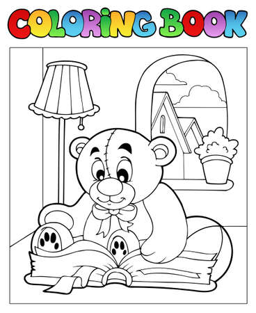 reading lamp: Coloring book with teddy bear 2 - vector illustration.