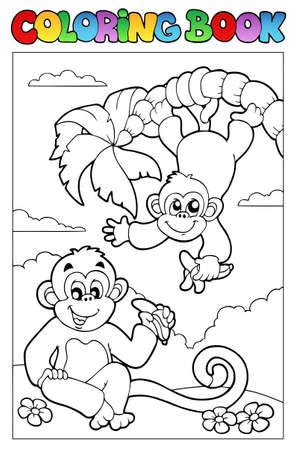 contorno: Libro para colorear con dos monos - ilustraci�n vectorial.