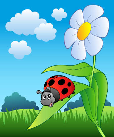 draw animal: Cute ladybug with flower - Vector illustration.