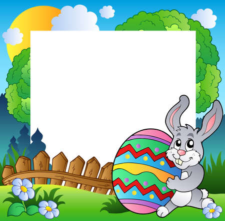 Easter frame with bunny holding egg - Vector illustration. Vector