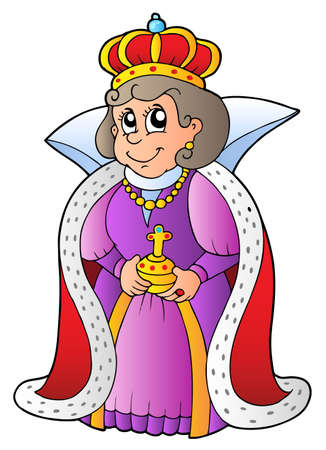 queen crown: Happy queen on white background - vector illustration.