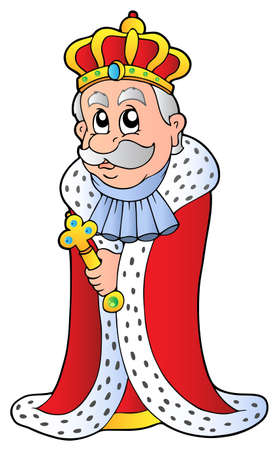 majesty: King holding sceptre - vector illustration. Illustration