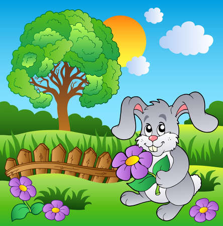 conejo caricatura: Prado con bunny celebración flor - ilustración vectorial.