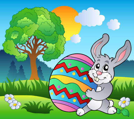 Meadow with tree and Easter bunny - Vector illustration. Stock Vector - 8985720